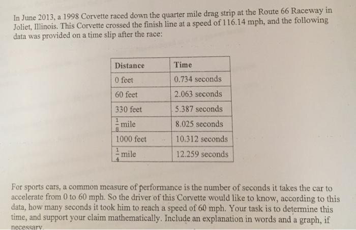 Solved: In June 2013 A 1998 Corvette Raced Down The Quarte