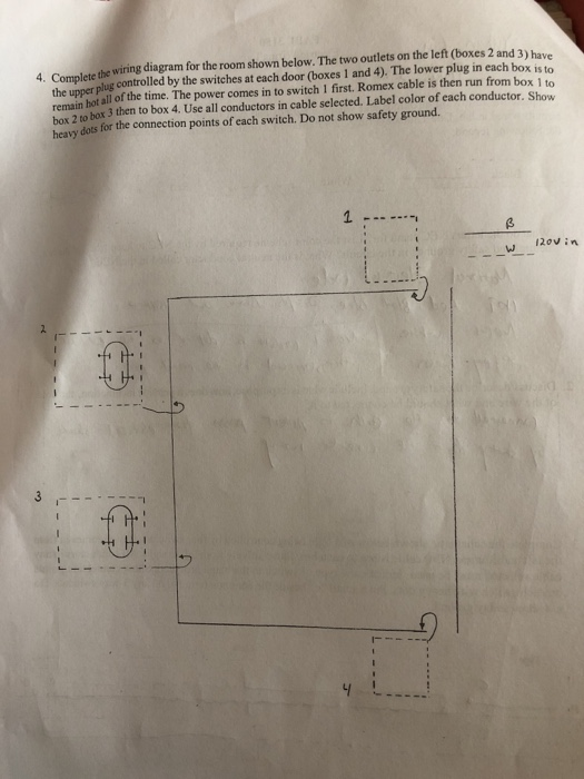 solved: e the wiring diagram for the room shown below. the... | chegg.com  chegg