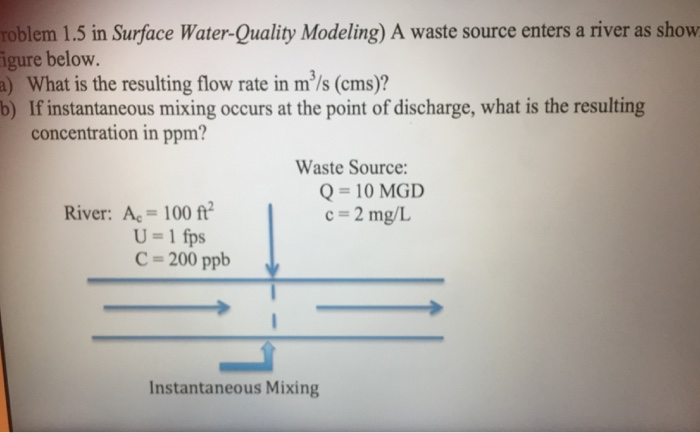Solved: Roblem 1 5 In Surface Water-Quality Modeling) A Wa
