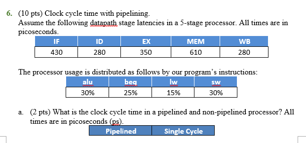 6 10 Pts Clock Cycle Time With Pipelining Assume The Following Datapath