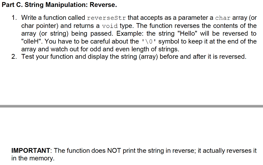 Solved: Part C  String Manipulation: Reverse  1  Write A F