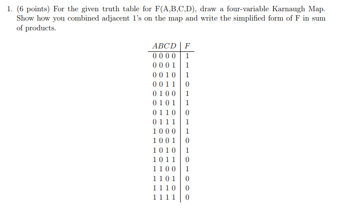 1. (6 points) For the given truth table for F(A,B,C,D), draw a four-variable Karnaugh Map Show how you combined adjacent 1s