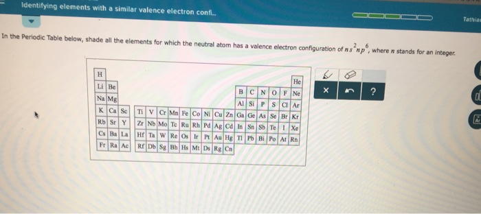 Solved tathias identifying elements with a similar valenc question tathias identifying elements with a similar valence electron conf in the periodic table below s urtaz Image collections