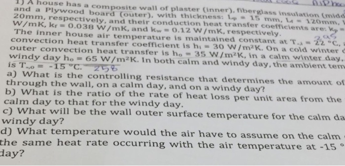 1) A House Has A Composite Wall Of Plaster Inner