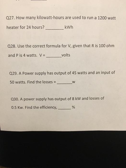 How Many Kilowatt Hours Are Used To Run A 1200 Watt Kwh Heater