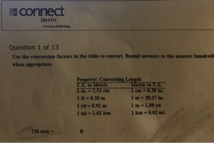 Connect Imath Hosted By Aleks Corp Question 1 Of 13 Use The Conversion Factors In
