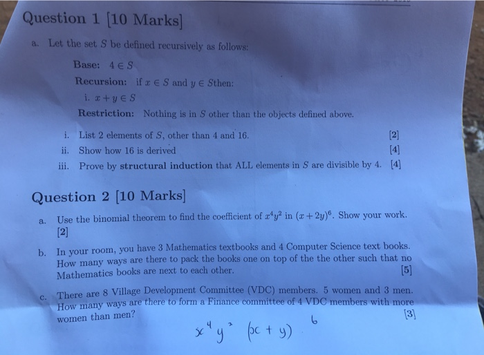 Question 1 [10 Marks] A Let The Set S Be Defined R