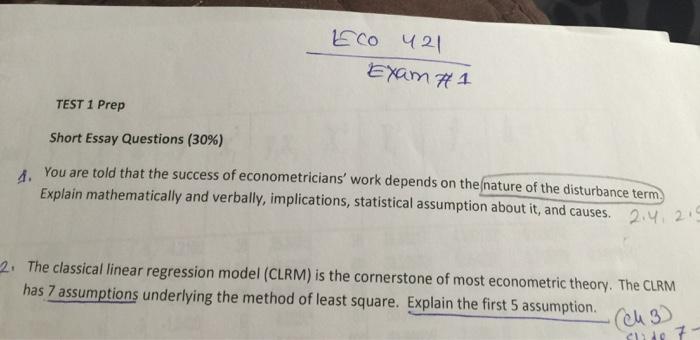 Solved Eco  Exam  Test  Prep Short Essay Questions   Eco  Exam  Test  Prep Short Essay Questions  You Are