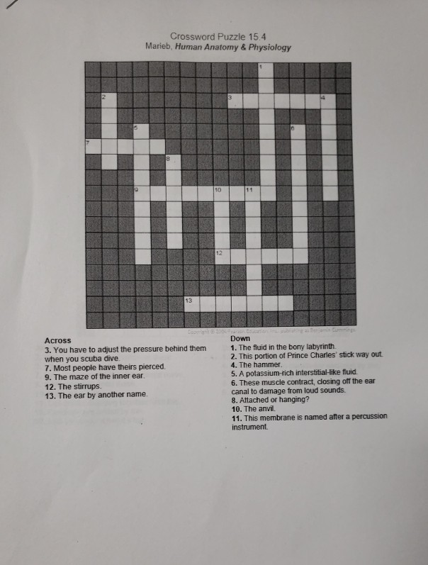 Solved Crossword Puzzle 154 Marieb Human Anatomy Phys
