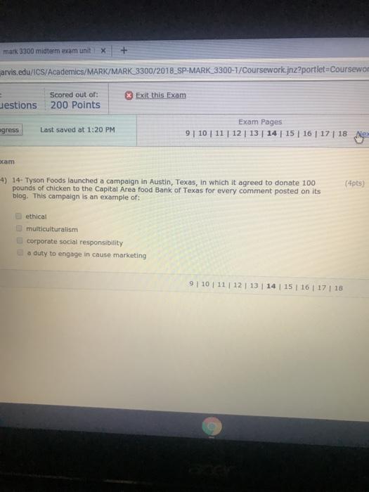 Solved: Mark 3300 Midterm Exam Unit   + Arvis edu/ICS/Acad