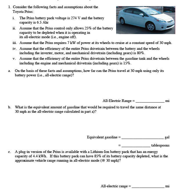 Consider The Following Facts And Umptions About Toyota Prius I