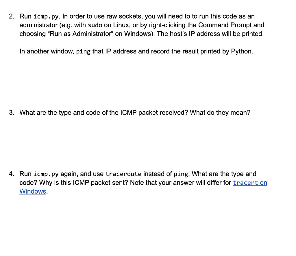 Solved: Icmp py #1 /usr/bin/env Python3 Import Socket Impo