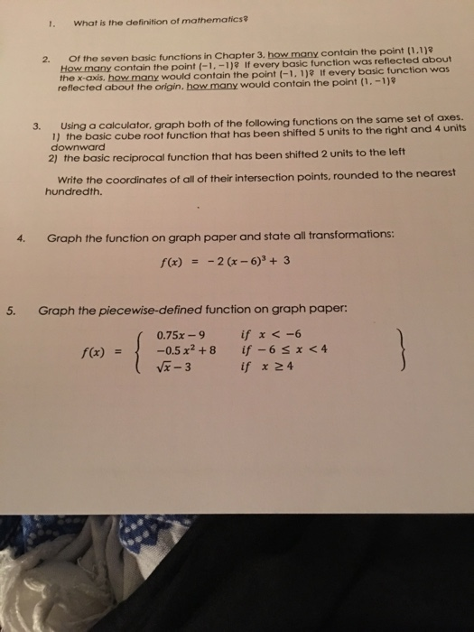 Solved: 1  What Is The Definition Of Mathematics 2  Of The