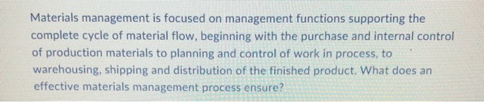 functions of material management