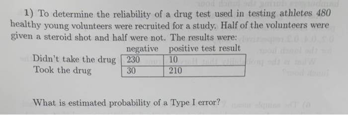 Solved: 1) To Determine The Reliability Of A Drug Test Use