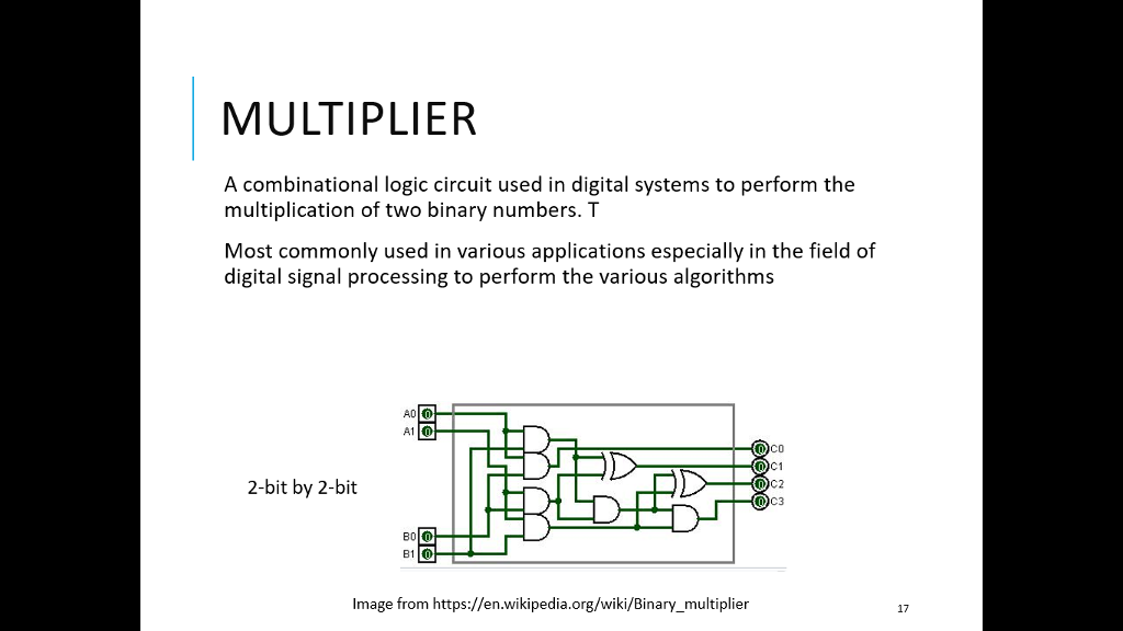 multiplier a combinational logic circuit used in digital systems to perform  the multiplication of two binary
