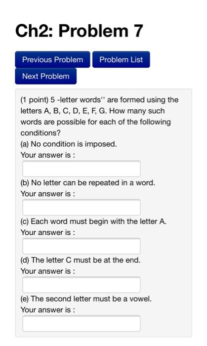Solved Ch2 Problem 7 Previous Problem Problem List Next Chegg Com