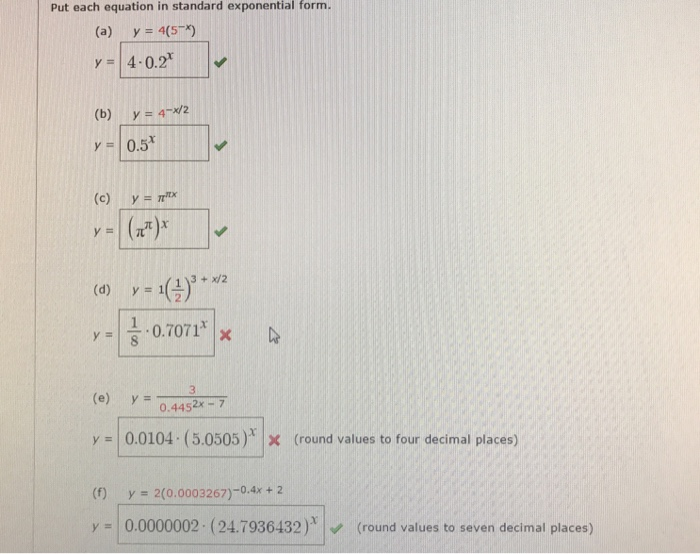 Solved Put Each Equation In Standard Exponential Form A