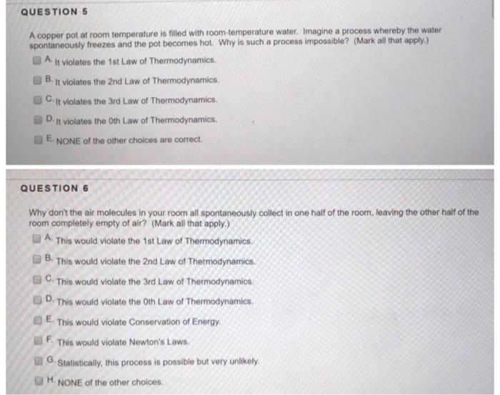 Solved Question5 A Copper Pot At Room Temperature Is Fill