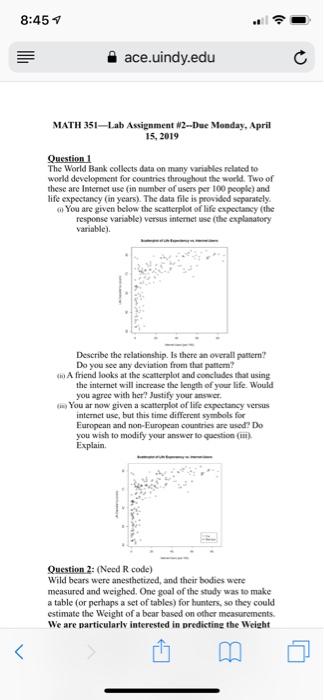 Solved: 8:45 1 El Ace  Uindy edu MATH 351 Lab Assignment W