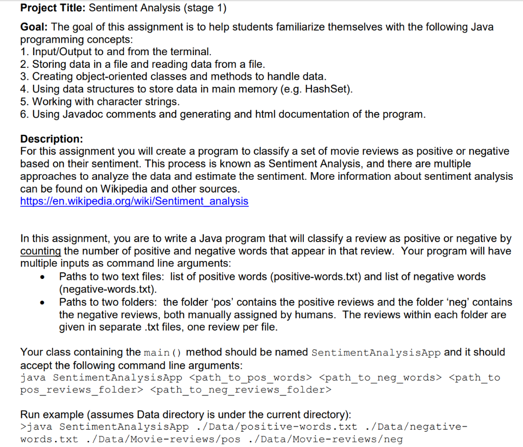 Solved: Project Title: Sentiment Analysis (stage 1) Goal