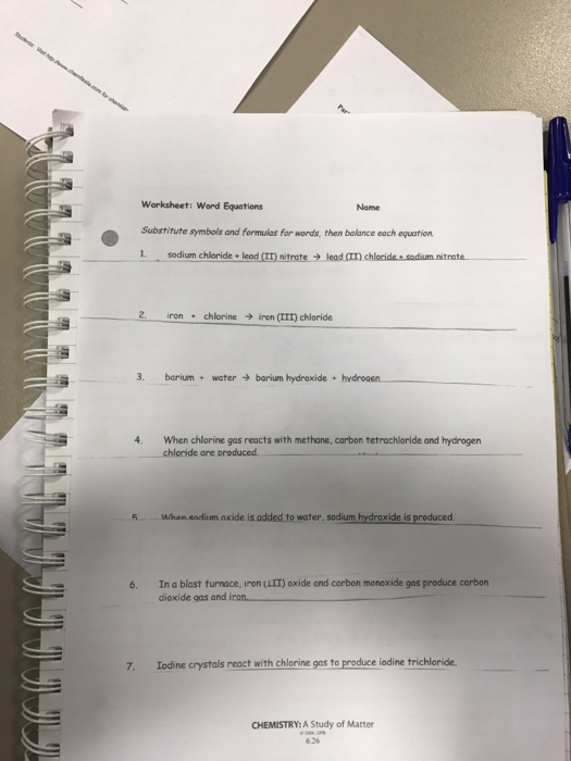 Solved Worksheet Word Equations Substitute Symbols And F