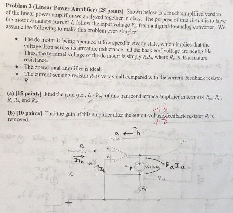 Solved: Problem 2 (Linear Power Amplifier) 125 Points] Sho