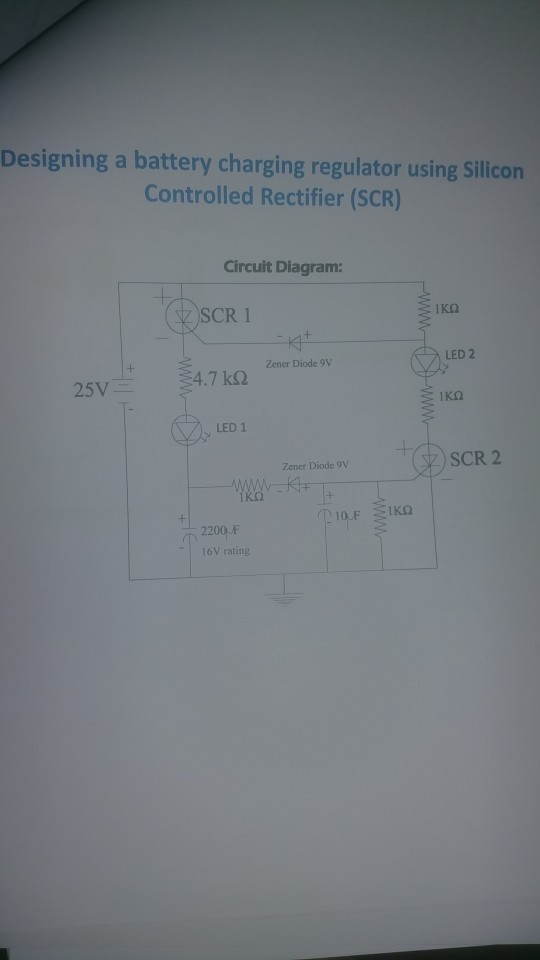 designing a battery charging regulator using silicon controlled rectifier ( scr) circuit diagram: scr