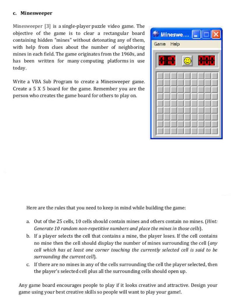 Solved: C  Minesweeper Minesweeper [3 Is A Single-player P