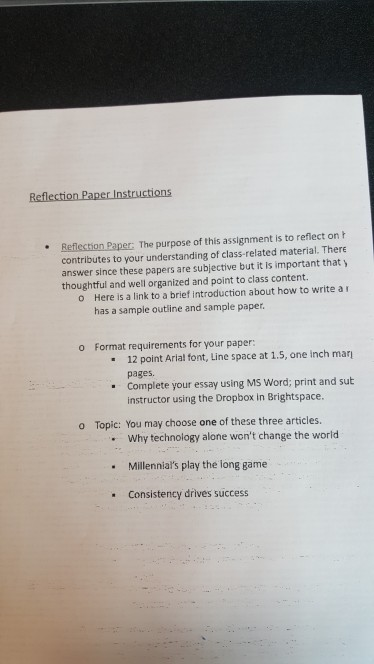 reflection paper content