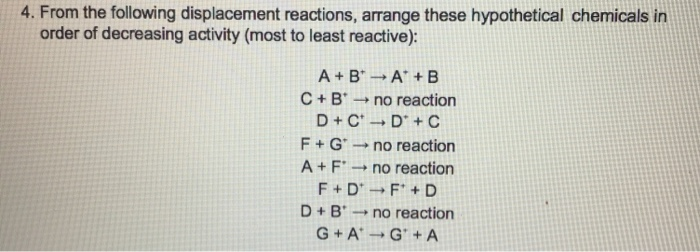 Solved: 4  From The Following Displacement Reactions, Arra