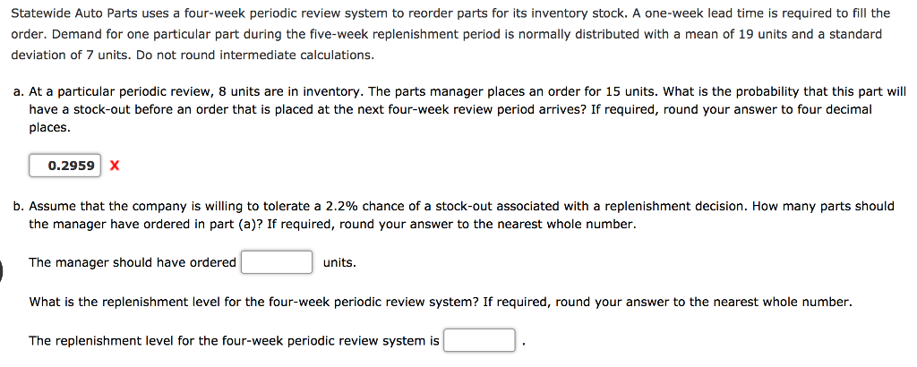 Nearest Auto Parts >> Solved Statewide Auto Parts Uses A Four Week Periodic Rev
