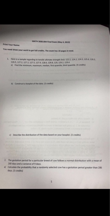 Solved: MATH 3680 004 Final Exam (May 4, 2019) You Need Sh