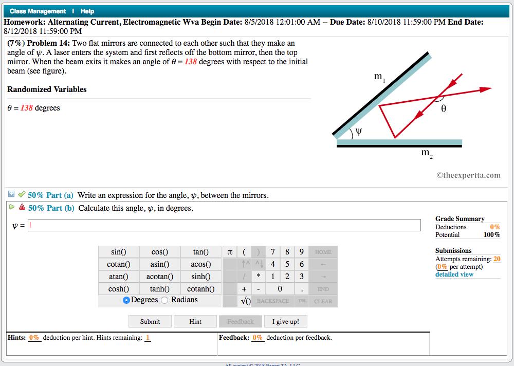 Solved  Class Help Homework  Alternating Current  Electrom
