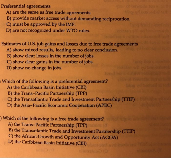 Solved Preferential Agreements A Are The Same As Free Tr