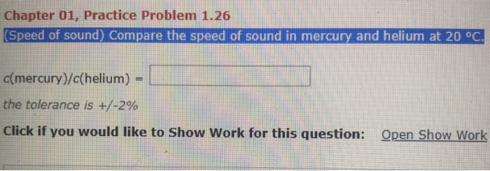 Solved: Chapter 01, Practice Problem 1 26 Speed Of Sound