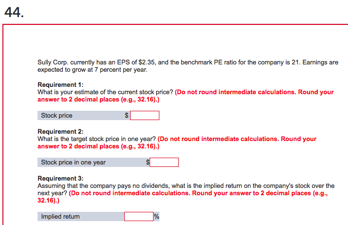 Solved: Sully Corp  Currently Has An EPS Of $2 35, And The