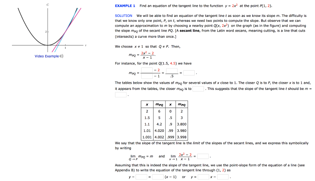 point slope form example problems with answers  Solved: EXAMPLE 13 Find An Equation Of The Tangent Line To ...
