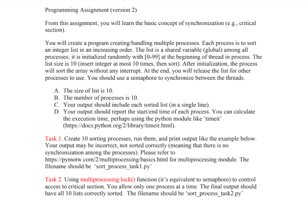 Programming Assignment (version 2) From This Assig