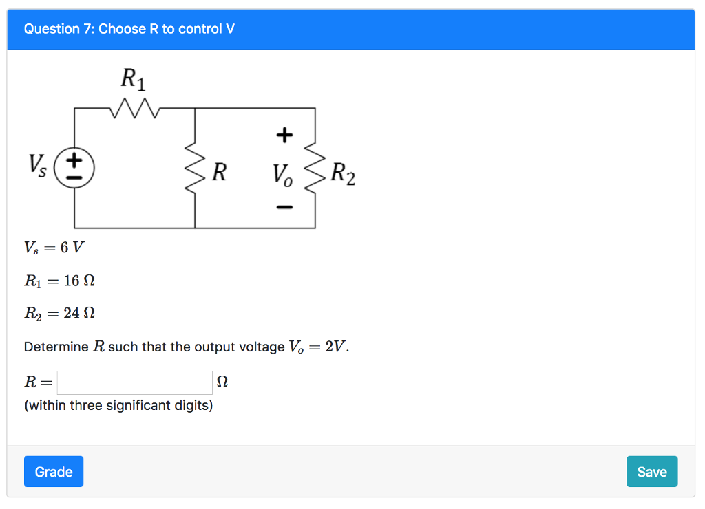 Solved: Question 7: Choose R To Control V R1-16 Ω R2- 24 Ω