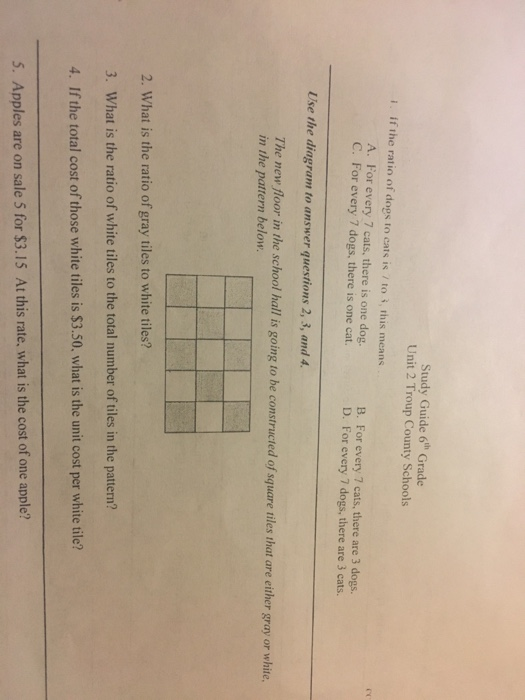 Solved: Study Guide 6th Grade Unit 2 Troup County Schools