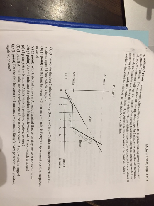 Midterm Exam, page 3 of 4 minutes into th nd Betsy, leave LIU together, walking down Flatbush Ave o the trip, Betsy stops for 3 minutes to buy coffee at Starbucks, to Atlantic while Alex con but he doesnt see him and passes right by him. The graph functions of time, with the direction from LIU to Atlantic Term position is indicated by a dashed line and Betsys by a solid line. Iwo minutes after leaving Starbucks, Betsy then catches up with Alex The graph below shows the positions of the students as nal chosen to be positive. Alexs Position Atlantic Alex Betsy Starbucks + Time t in mins LIU 0 (a) (I point) For the first 7 minutes of the trip (from -0 to1 7 min), are the displacements of the students equal? If not, which is larger? (b) (1 point) For the time betweent-3 min andr 4 min, is Betsys displacement positive, negative, or zero? (c) (I point) Which student arrives at Atlantic Terminal first, or do they arrive at the same time? (d) (1 point) At 4 min, are the velocities of the students equal? If not, which is larger? (e) (1 point) At 6 min, is Alexs velocity positive, negative, or zero? (0 (1 point) At 1 min, are the accelerations of the students equal? If not, which is larger? (g) (1 point) For the time between 1 I min and 1 -3 min, is Betsys average acceleration positive, negative, or zero?