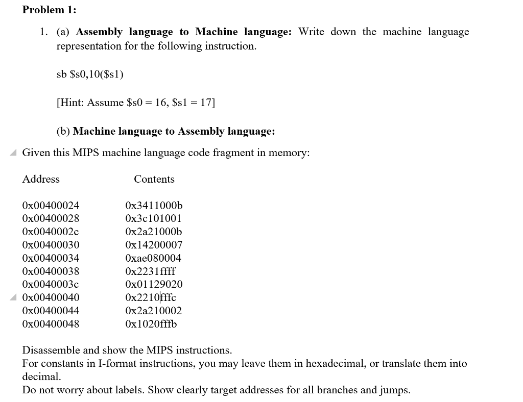 Solved: Problem 1: (a) Assembly Language To Machine Langua