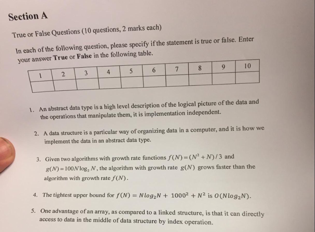 Solved: Section A True Or False Questions (10 Questions, 2