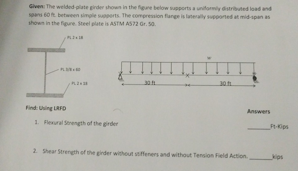 Given: The Welded-plate Girder Shown In The Figure