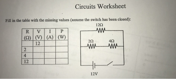 Solved: Circuits Worksheet Fill In The Table With The Miss ...