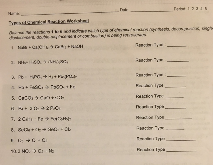 Solved: Date: Period: 1 2 345 Name Types Of Chemical React ...