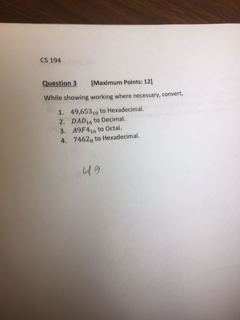 Cs 194 Question 3 Maximum Points 12 While Showing Working Where Necessary