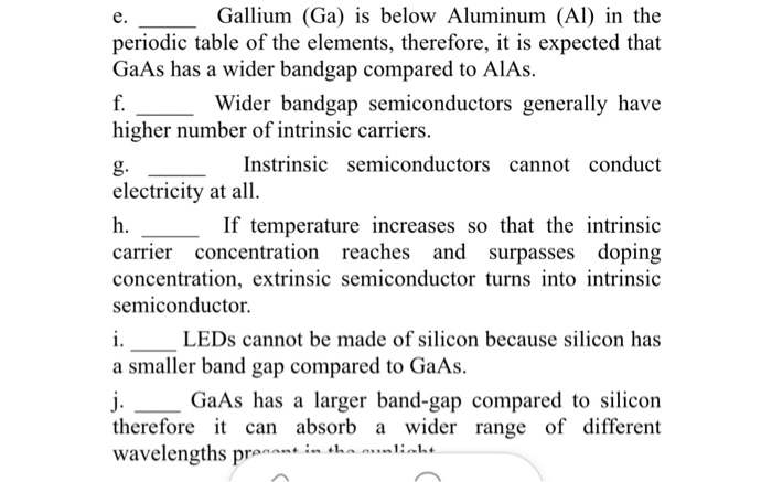 Solved Gallium Ga Is Below Aluminum Al In The