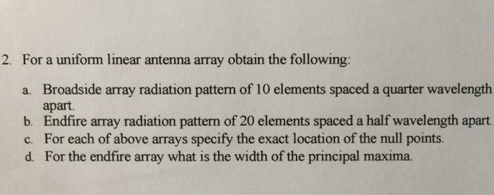 Solved: For A Uniform Linear Antenna Array Obtain The Foll